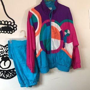 Vintage 1980s Windbreaker Set w/ Pants Levon Sz L